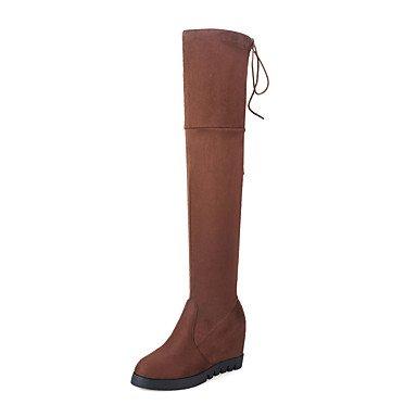 Rtry Femmes Chaussures Spandex Nabuck En Cuir Automne Hiver Mode Bottes De Combat Bottes Coin Talon Plate-forme Bout Rond Sur Les Bottes Au Genou Us8.5 / Eu39 / Uk6.5 / Cn40