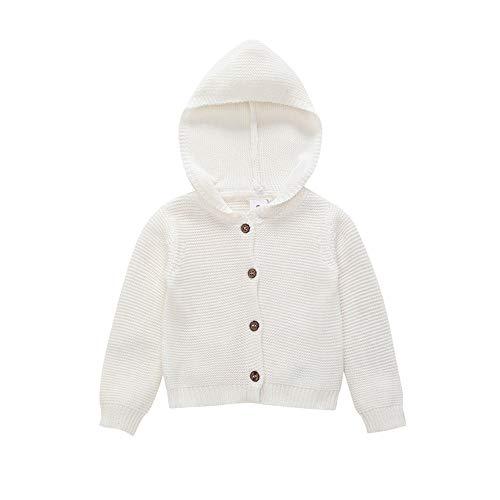 efde650926b802 Neonato Unisex Maglia Bottone Cardigan Cappotto con Cappuccio Caldo  Maglione Giacche Bambino Solido Mantello Vestiti