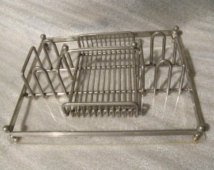 Buffet Caddy Cutlery Holder Silv & Style. Acrylic with Glass Base DIV101