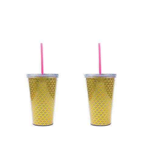 2 STÜCKE Reisebecher Kaffee Bier Pint Tasse Stroh Tasse Vakuumisolierte Einfache Moderne 16 Unzen Kreative Abnehmbare mit Stroh Deckel Geschenk für Home Office Supplies