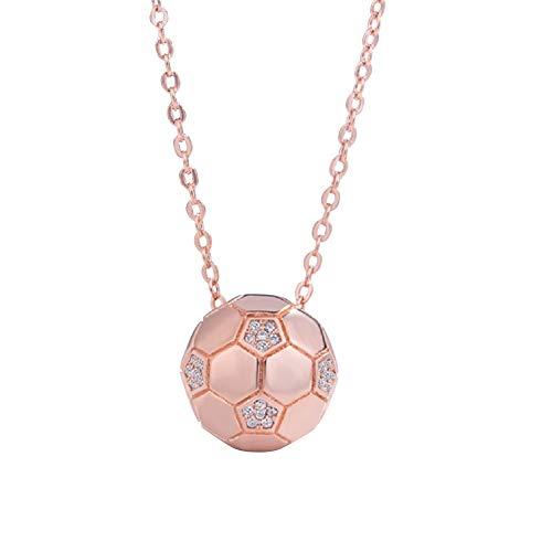 Lovinda Mädchen Frauen Rose Gold-Halskette Mode Fußball Zirkon Halskette Anhänger Clavicular Kette Pullover Kette Billig Schmuck für Freundin Dame Geburtstagsgeschenk