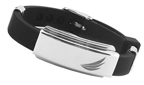 Premium Energy Ionen Silikon Bionic Magnetarmband Energetix 4 You 602 sportlich Uni schwarz gravierbar poliert Größe S - XL mit Schmuckbeutel