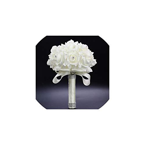 Kion Pasue bridal bouquets Brautbrautjunfer-Blumen-Hochzeit Blumenstrauß künstliche Blumen-Rosen-Blumenstrauß-Kristall Brautsträuße, Elfenbein - Hochzeit Strand Bouquet