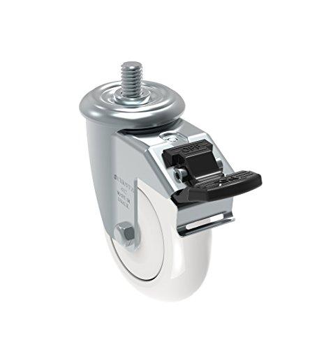 3//8 Diameter x 1-1//2 Length Threaded Stem Non-Marking Polyethylene Wheel 3 90 lbs GLEEF 310 Citrus Orange 75 mm Swivel Caster Schioppa L10 Series
