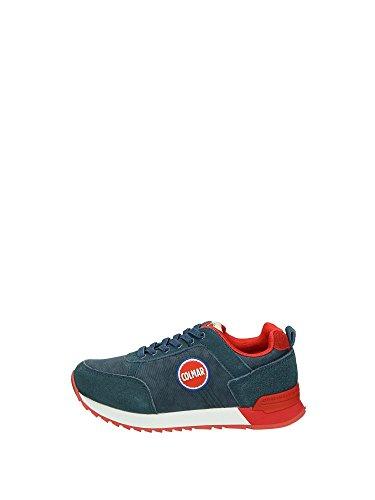COLMAR - Chaussure à lacets bleue et rouge en tissu et suède, logo sur la languette, garçon, garçons