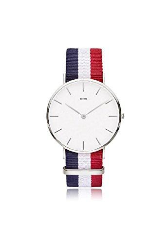 Sovats Montre-bracelet Analogue de Quartz Unisexe Avec Bleues de blanc et Rouge Sangles Interchangeables de l'OTAN / Diamètre 40 mm / Imperméable