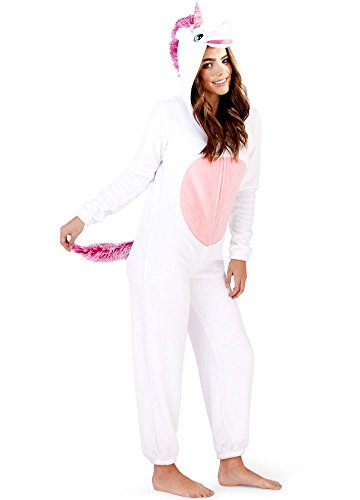Loungeable Damen Jumpsuit Overall Tiere Gesichter Öhrchen 3D Kapuze Einhorn weiß 79766WHT - Weißen Overall Kostüm