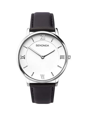 Sekonda 1425 Montre à Quartz analogique Classique pour Homme avec Cadran Blanc et Bracelet en Cuir Noir