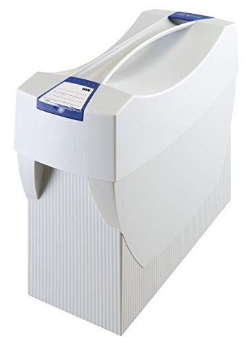 HAN Hängemappenbox SWING-PLUS 1901-11 in Lichtgrau – Praktische Ordnungsbox mit Deckel für Mappen und Ordner – Integrierter Stifteköcher für das Bürozubehör – Maße: 39x15x35cm