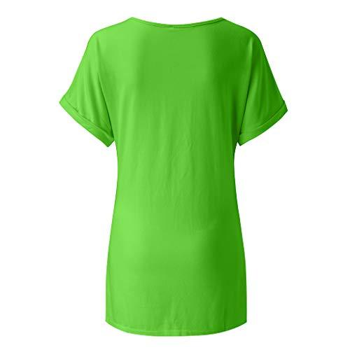 Maroon Loose Fit Shirt (Pullover Sweatshirt für Damen,Kobay 2019 Halloween Heiligabend Weihnachten Frauen Baggy Übergroße Loose Fit Drehen Flügelhülse Damen V Ausschnitt Top T Shirt Bluse Pullover)