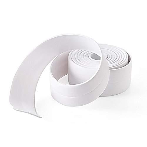 FEIGO Nastro adesivo sigillante impermeabile in PE, Striscia decorativa antimuffa per cucina e bagno - Long. 3m×Larg. 3,8cm - Bianco