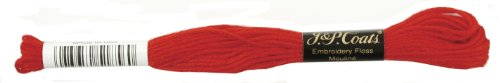 Manteaux Crochet 6-Strand Fil à Broder, Noël, Rouge Vif, 24-Pack