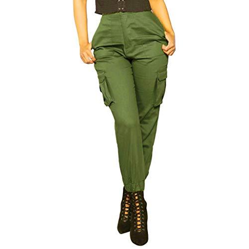 DOLDOA Shorts Damen Sommer,Womens Solid Hosen Casual Shorts Elastische Taille Hosen Overalls Taschen Cargo (M, ArmyGreen) -