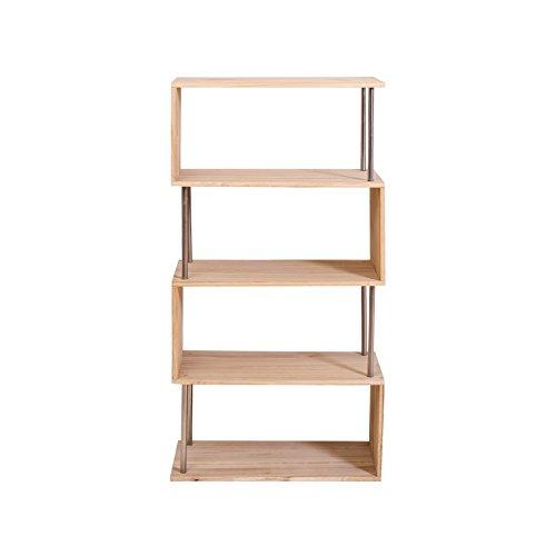 Mobili Rebecca® Etagères Bibliothèque 4 Etagère Bois Clair Design Retro Rangement Chambre (Cod. RE4660)