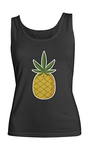 Pineapple Double Meaning 420 Sarcastic Amusant Femme Tank Top Debardeur Noir