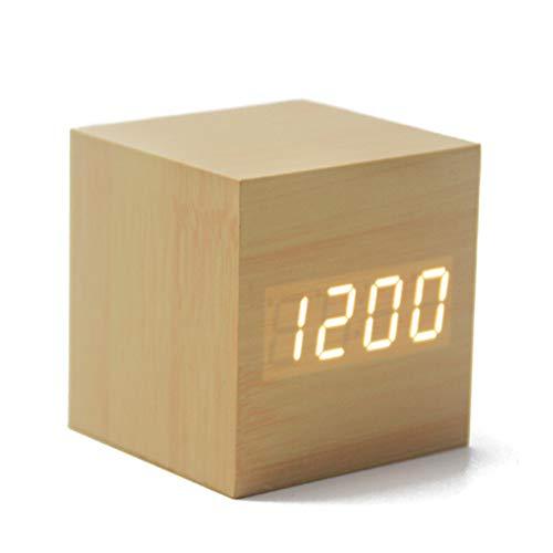 Eve L Digitaler Wecker, gelenkte Mini-Holz-Quadrat-Alarm-Alarmuhr, Zeit-Datum Anzeige Audio-gesteuerten USB-Akku, geeignet für Reisen, Kinderzimmer, Haus, Büro (Holz) Anzeigen Audio