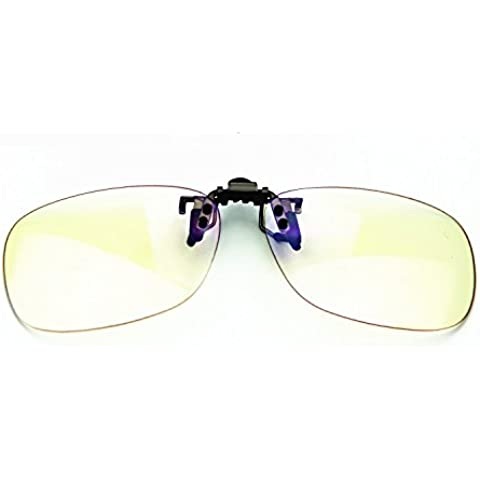 cyxus Filtro de luz azul UV Bloquear Gafas [Clip On] anti Eye Strain (Suspensión Superior) Anti-Glare, ordenador/teléfono celular/Juego de PC/TV Radiación de bloque de protección de lectura Eyewear [transparente
