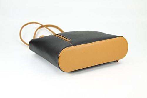 "BELLI ital. Ledertasche ""Belli Backpack"" 2in1 Rucksack Handtasche Schultertasche - Freie Farbwahl - 28x28x8 cm (B x H x T) Schwarz cognac"