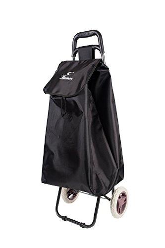 ALL Bags großer, leichter, wasserdichter Einkaufstrolley mit 2Rädern schwarz 60 cm