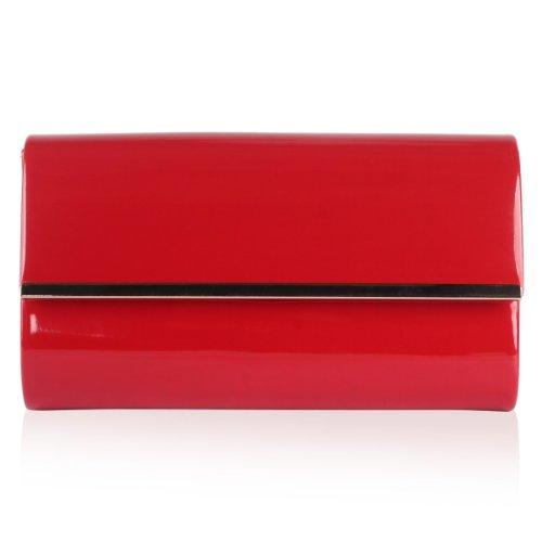 Da donna custodia rigida tracolla in catena donna sera finiture in metallo partito frizione borsa Red