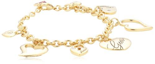 Guess Damen-Armband Interlocking Love Edelstahl Kristall vergoldet 17+3 cm UBB11324