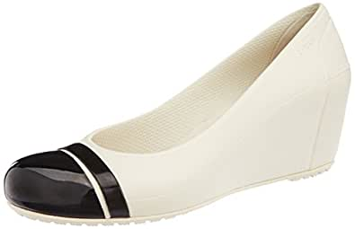 Crocs Women's Cap Toe Wedge Stucco and Black Rubber Pumps - W10