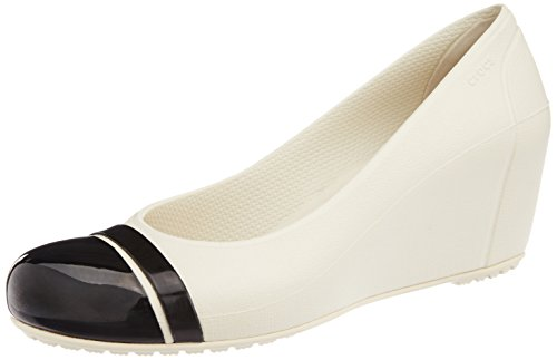 Crocs Cap Toe Wedge 12299-16U-480, Damen Pumps, Beige (Stucco/Black), 39-40 EU / 9 US