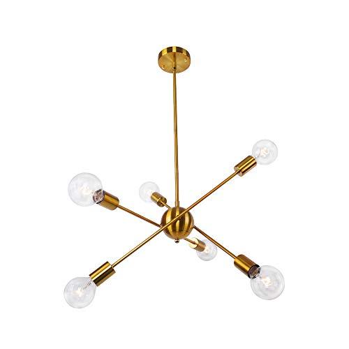 OYI Sputnik Kronleuchter 6-Flammig Modern Pendelleuchte Innen Hängelampe Metall Brass für Flur Wohnzimmer Esszimmer Restaurant Bar
