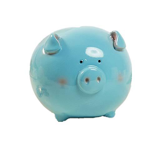 Cute Pink Piggy Bank Piggy Bank-Creative Resin Large Capacity Piggy Bank-Simple Fashion Child Girl Piggy Bank-Gift Decoration (Pink Blue),Blue