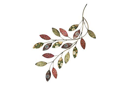 Kobolo Filigrane XL Wanddekoration Zweig aus Metall mit wunderschön verzierten bunten Blättern -