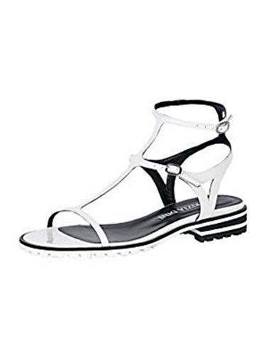 Sandalo col tacco alto Damen aus Cuoio verniciato di Patrizia Dini Bianco