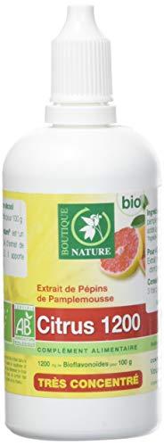 Boutique Nature - Complément Alimentaire - Extrait de pépins de Pamplemousse - Citrus 1200 BIO - Flacon Compte Gouttes de 100 ml - Apporte naturellement des BIOflavonoïdes