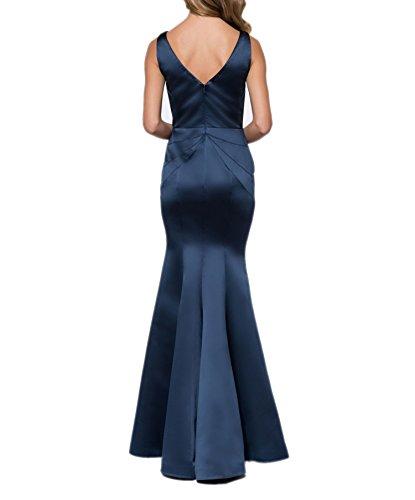 Charmant Damen Schwarz Sexy Tief v-ausschnitt Abendkleider Ballkleider Partykleider Schmaler Schnitt Rock Navy Blau