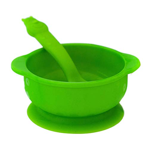 halen Mit Saugnapf + Passendem Löffelset, Standfeste Saug-fütter-schüssel,mikrowellengeeignete Breischale Mit Deckel,Green ()