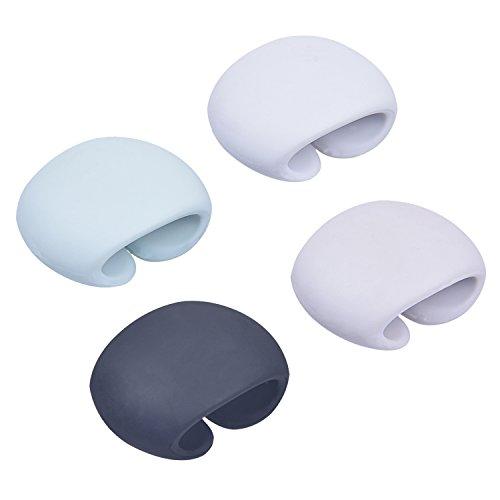Rancco® Kabelaufwicklung Wraps Headphone Cord Organizer, Silikon USB Kabel Clip Management, nicht mehr Tangled Cords, 4 Packs w / Pouch (Netzkabel Wickeln)