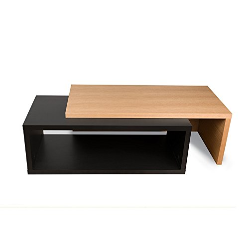 Paris Prix - Temahome - Table Basse 90cm Jazz Noir Mat & Chêne