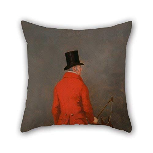 Xukmefat The Oil Painting Henry Calvert - Portrait of Thomas Cholmondeley, 1st Lord Delamere, On His Hunter (Study for 'The Cheshire Hunt at Pillow Cases of,18 X 18 Inches/45 by 45 cm Decorati