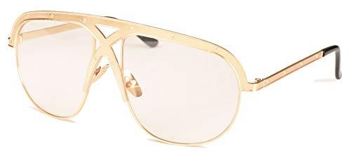 WDDYYBF Sonnenbrillen, Big Frame Sonnenbrillen Männer Uv400 Trend Stars Tragen Sonnenbrille Frauen Mit Großem Rahmen Outdoor Sonnenbrillen Goggles Gold Frame Löschen