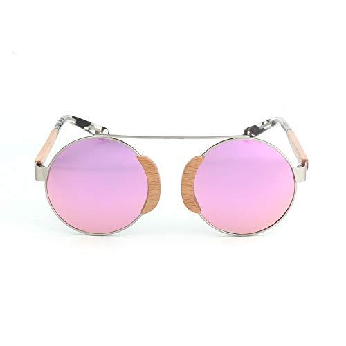 GTYHJUIK Polarisierte Bambusholz Sonnenbrille Persönlichkeit Runde Echte Farbton Anti Glare Spiegel Outdoor Casual Komfortable Reise/Damen