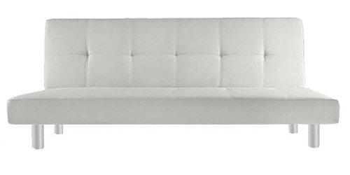 Divano letto in ecopelle 3 posti reclinabile bianco design moderno casa ufficio