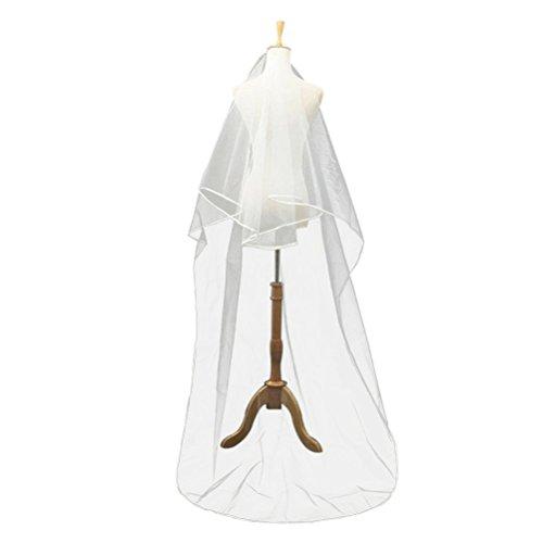 winomo heiklen Hochzeit Braut 2Schichten 2,5m lange Band Rand Voile mit Kamm–1Stück