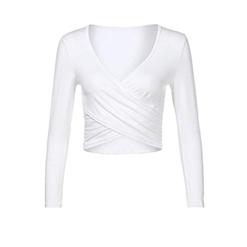 MRULIC 2018 Frauenjacken öffnen Nabel Langärmelige dünne Yoga-Kleidung Strumpfhosen Sweatshirt(Weiß,EU-36/CN-S) 08 Gabeln