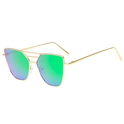TUDUZ Mode Unisex Vintage Unregelmäßige Brille Aviator Spiegel Sonnenbrille (Grün)