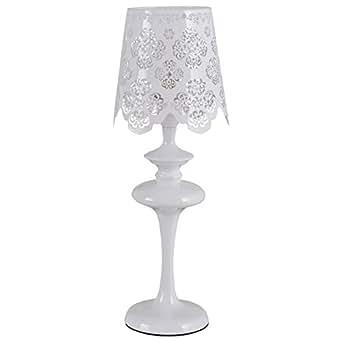 Lampe de table de table de style classique avec armature en métal couleur blanc et plafonnier en forme de abat-jour couleur blanc, lampe de chevet pour chambre ? coucher ou bureau, 1 ampoule, E14 1x60W 230V