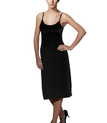 Doreanse Damen Unterkleid Midikleid Nachtkleid verstellbare Träger Soft Cotton Full Slip Schwarz