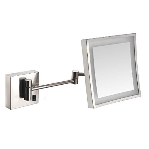 ZCJB Miroir de Maquillage,LED Simple Face avec Miroir de Lumière Pliant Télescopique pour Salle Bain avec Miroir Grossissant (Couleur : Silver, Taille : Plug)