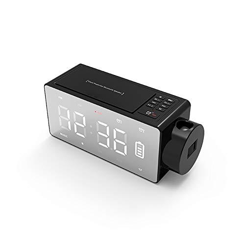 XCCV Tragbarer drahtloser Bluetooth-Lautsprecher mit LED-Anzeige, Wecker, Radio, großem Ton, großem dimmbarem Display, 4000-mAh-Akku für 24-Stunden-Wiedergabe (schwarz) 12 In Powered Subwoofer