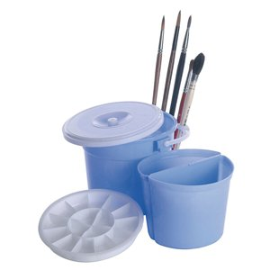 Pinselwascher Pinselreiniger Pinselwaschbehälter Kunststoff Blau incl. Mischpalette