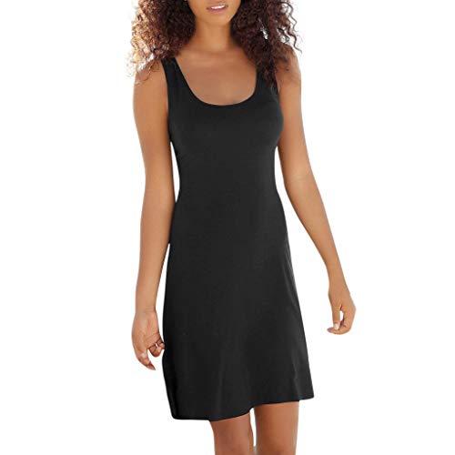 UINGKID Sommerkleid Damen Kleid Tshirt Retro Elegant Kurzarm Minikleid Kleider Beiläufige böhmische ärmellose rückenfreie Bandage Über dem Knie Party