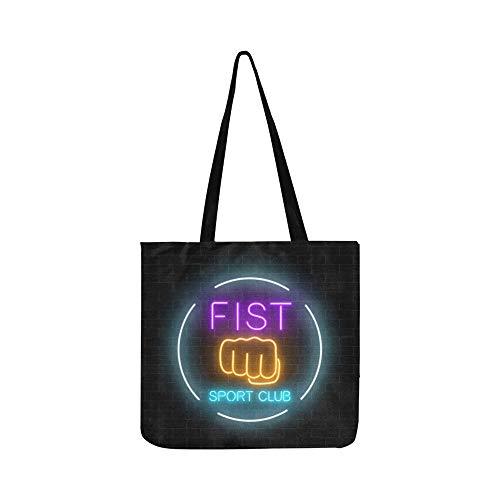 Glowing Neon Kampfsport Club Zeichen Leinwand Tote Handtasche Umhängetasche Crossbody Taschen Geldbörsen Für Männer Und Frauen Einkaufstasche -